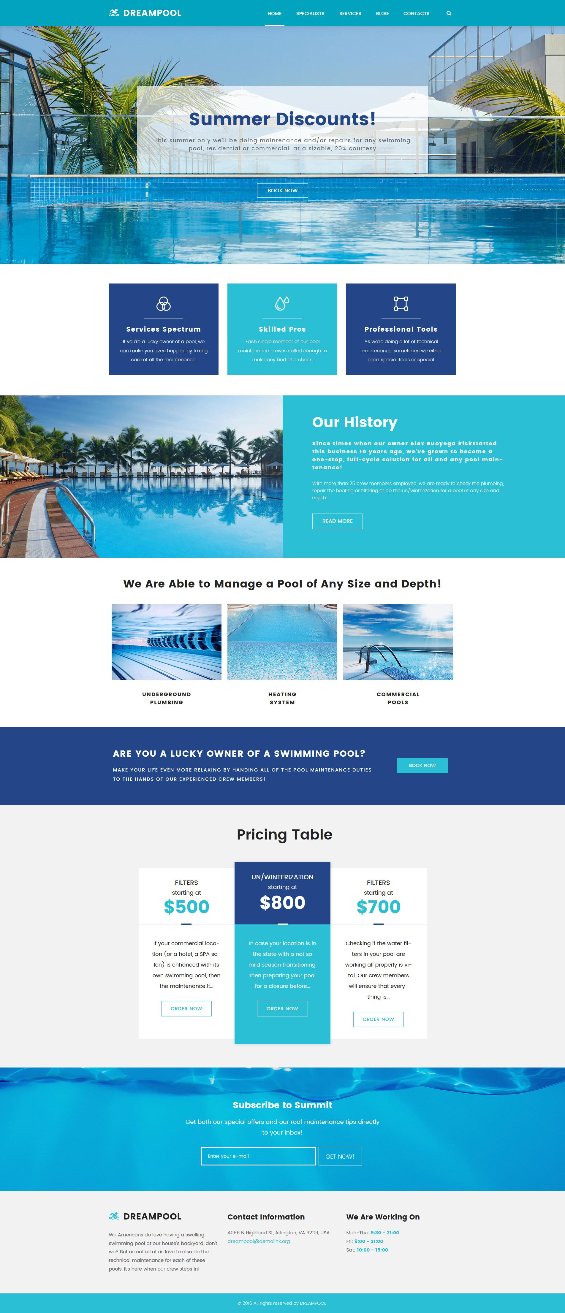 """""""Dream Pool - Pool Cleaning & Pool Repair"""" thème WordPress adaptatif #62026 - screenshot"""
