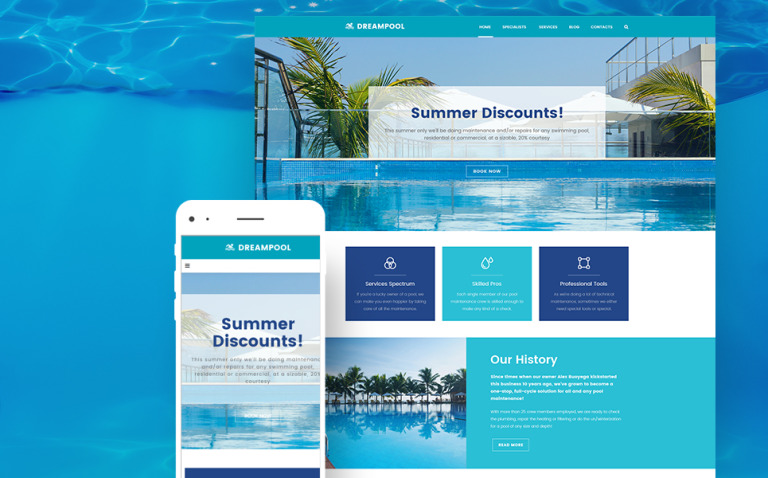 Dream Pool - Pool Cleaning & Pool Repair WordPress Theme New Screenshots BIG