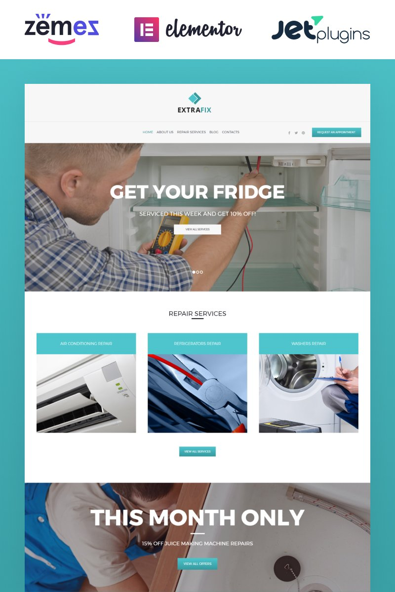 """Extrafix - Maintenance & Home Repair"" 响应式WordPress模板 #62021 - 截图"