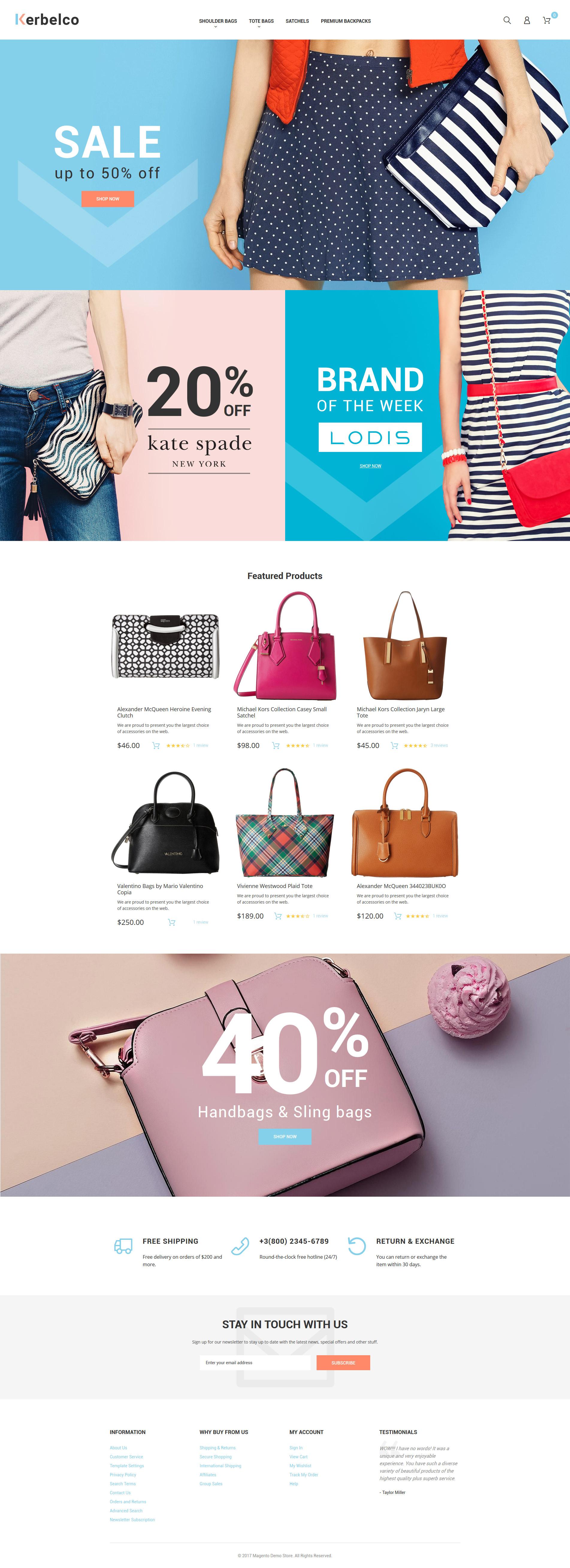 """Fashion & Handbags Magento 2 Theme"" - адаптивний Magento шаблон №62099 - скріншот"