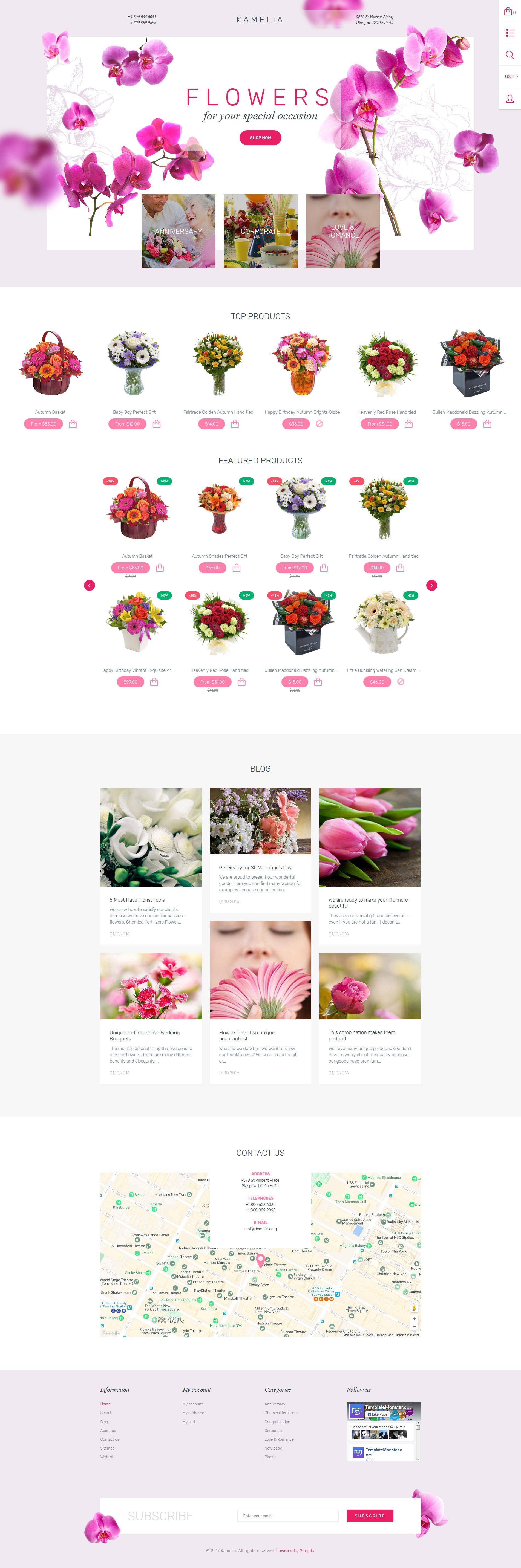 """Flower Shop Responsive"" - адаптивний Shopify шаблон №62003"