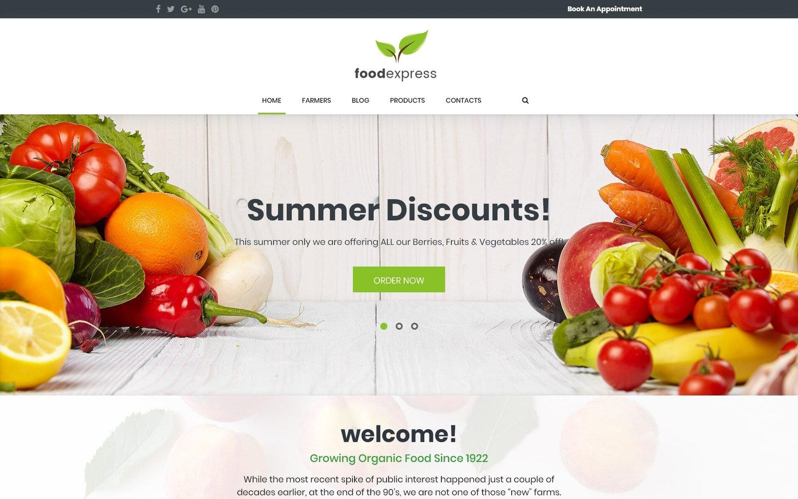 """Food Express - Agriculture & Farm"" - адаптивний WordPress шаблон №62033"