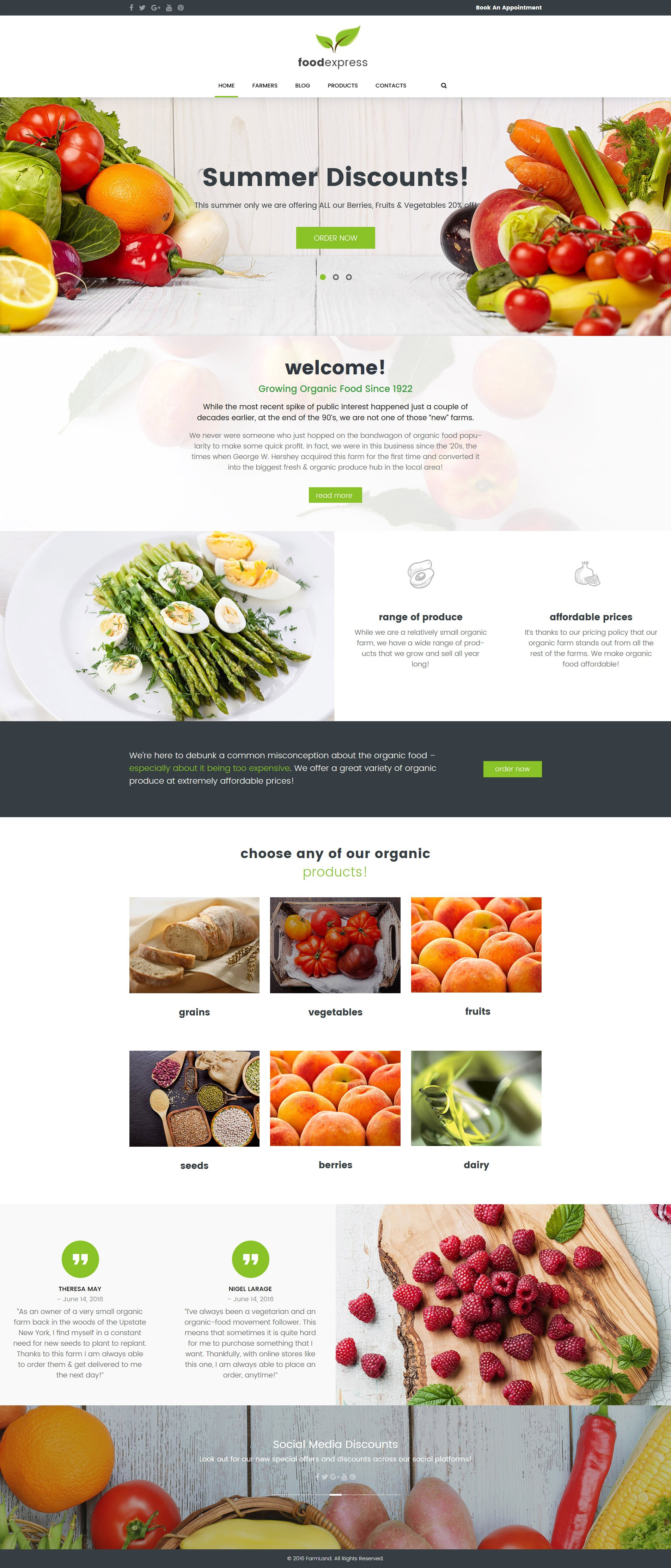 """Food Express - Agriculture & Farm"" 响应式WordPress模板 #62033 - 截图"