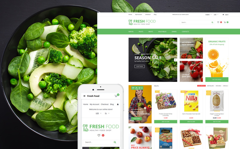 Fresh Food - Healthy & Organic Food Store OpenCart Template New Screenshots BIG