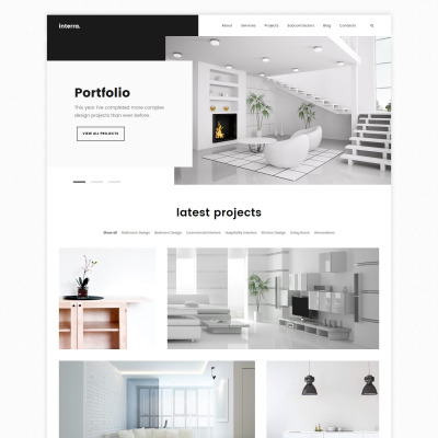 28 best interior design wordpress themes templatemonster for Interior design portfolio