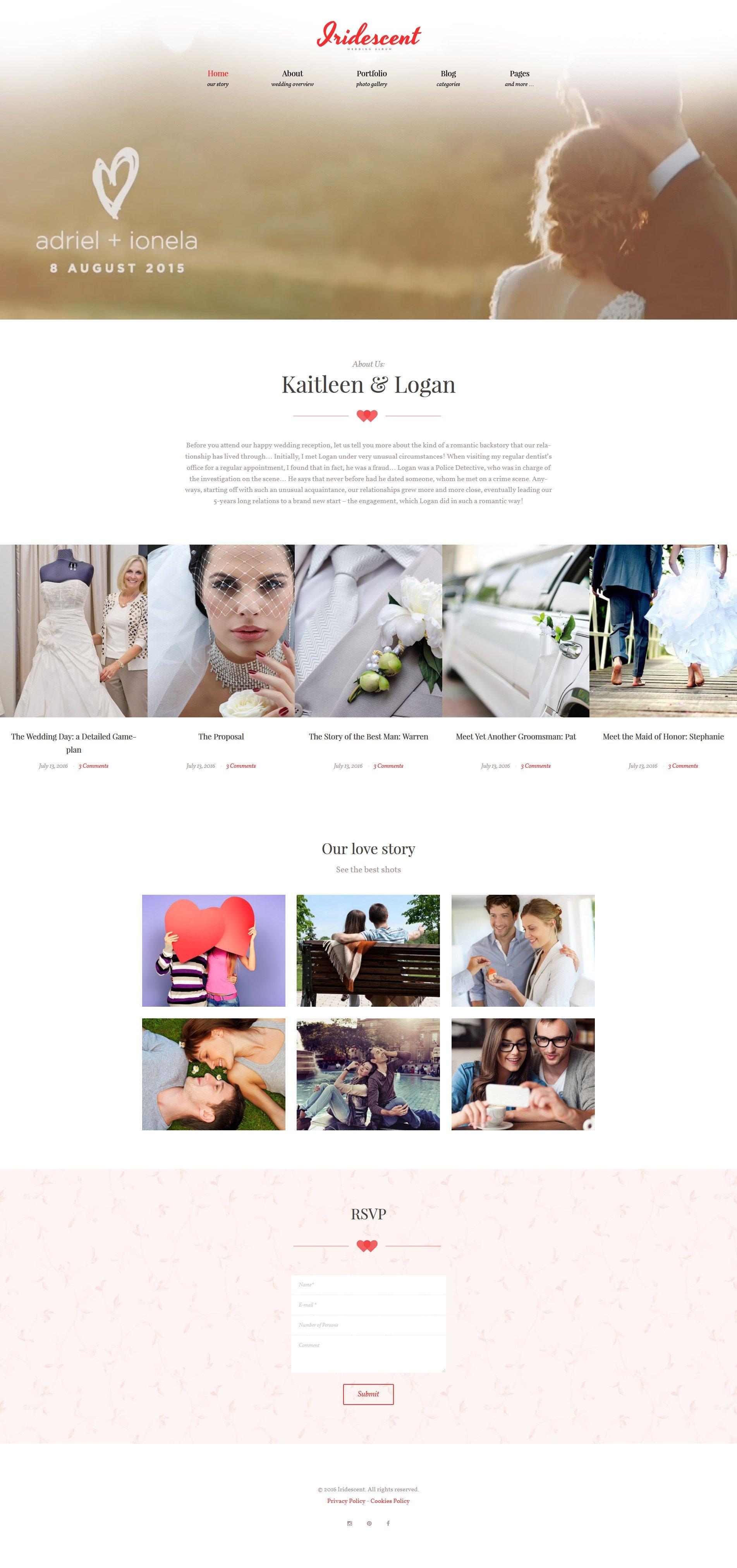 """Iridescent - Marriage & Wedding"" - адаптивний WordPress шаблон №62018 - скріншот"