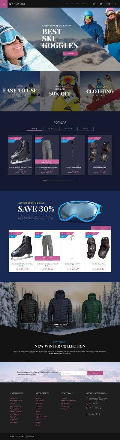 Kansysis - Sport Clothing & Equipment PrestaShop Theme