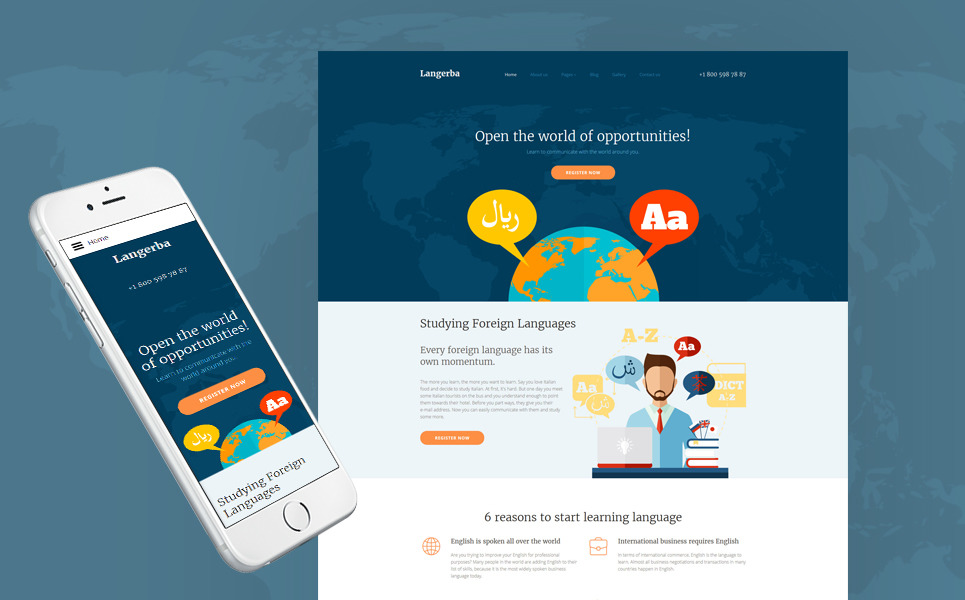 Langerba - Language School Joomla Template New Screenshots BIG