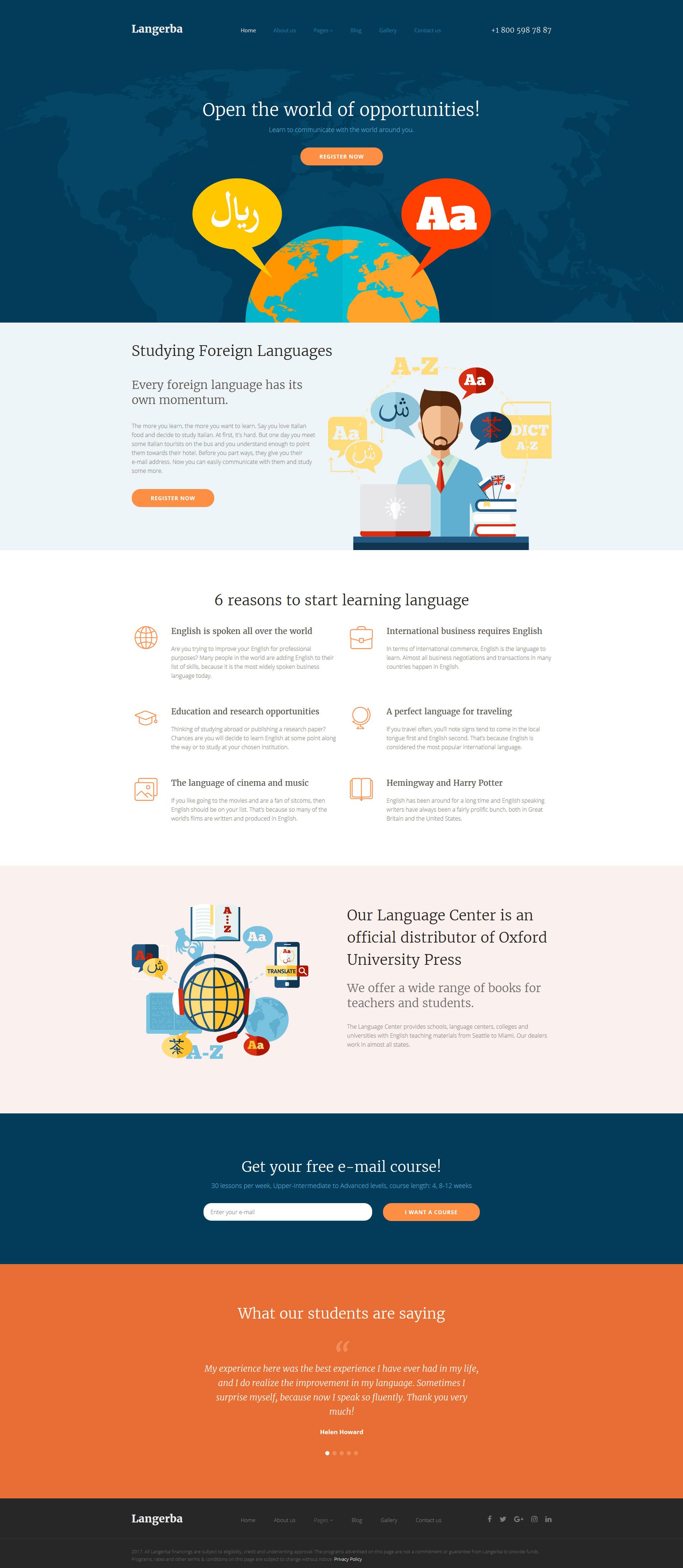 """Langerba - Language School"" 响应式Joomla模板 #62066 - 截图"
