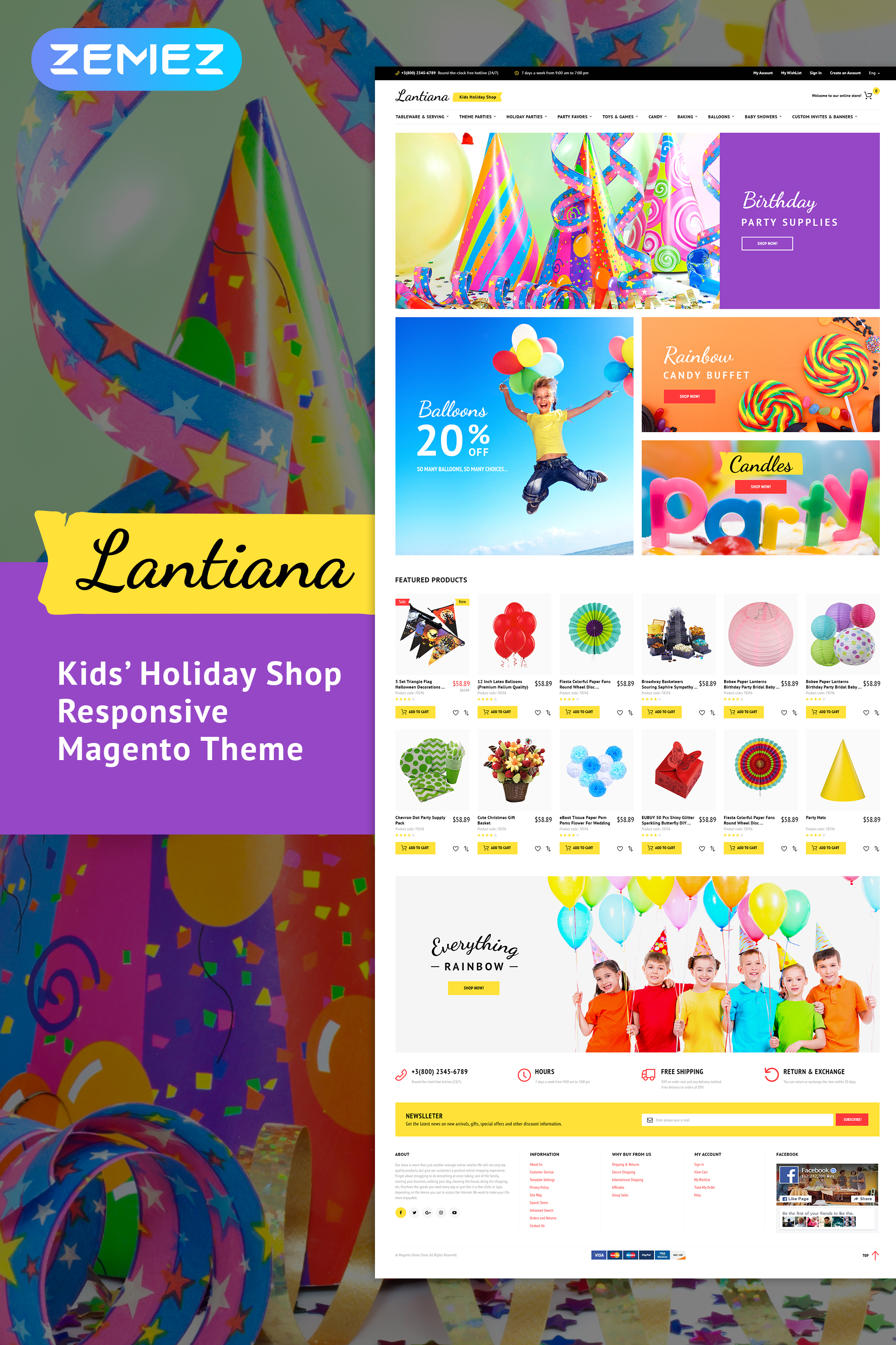 """""""Lantiana - Party Supplies"""" 响应式Magento模板 #62095"""