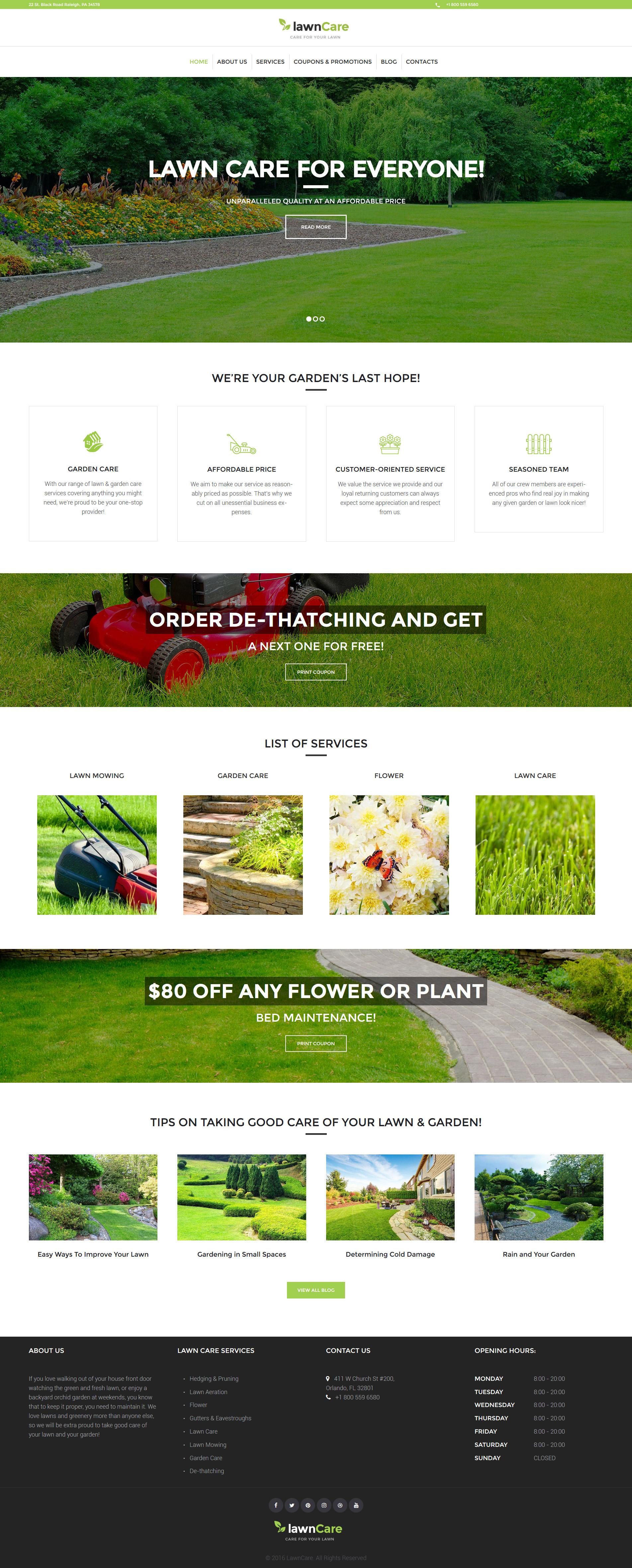 """Lawn Care - Lawn Mowing & Landscape"" - адаптивний WordPress шаблон №62024"
