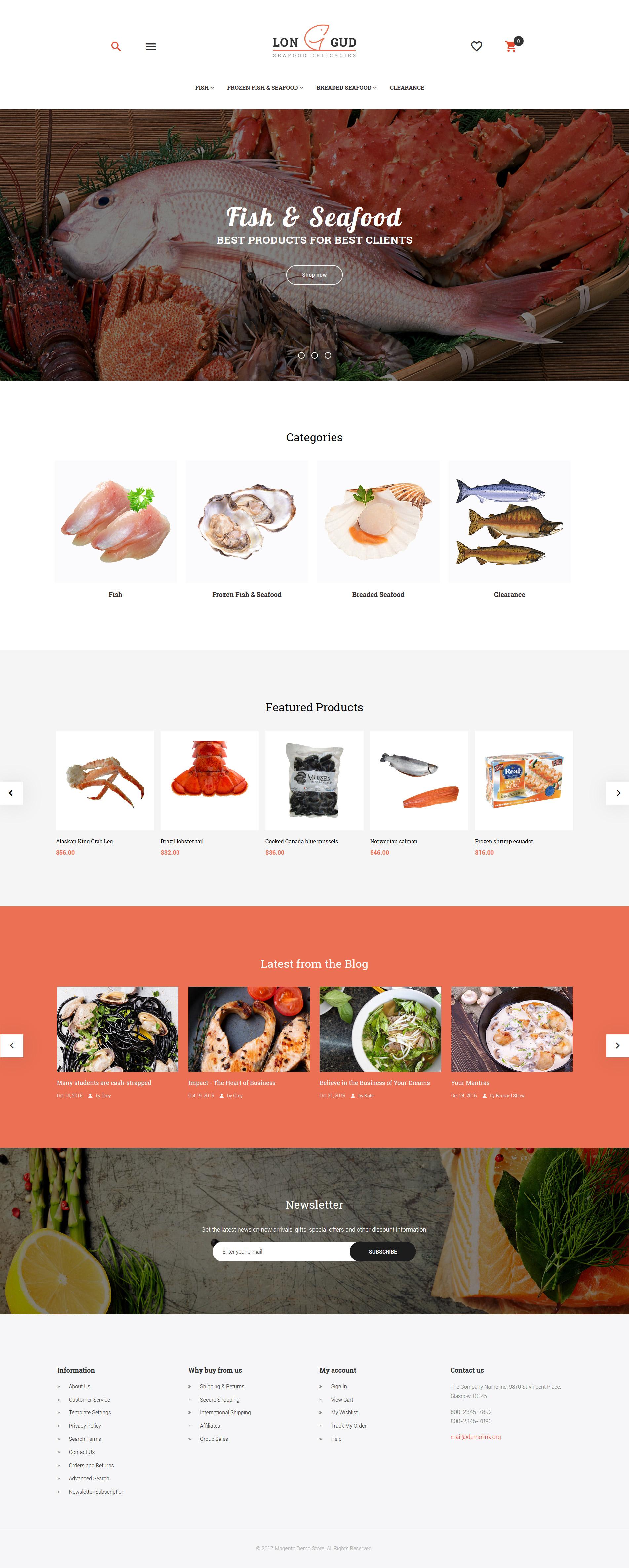 """Longud - Seafood Delicacies"" - адаптивний Magento шаблон №62082"
