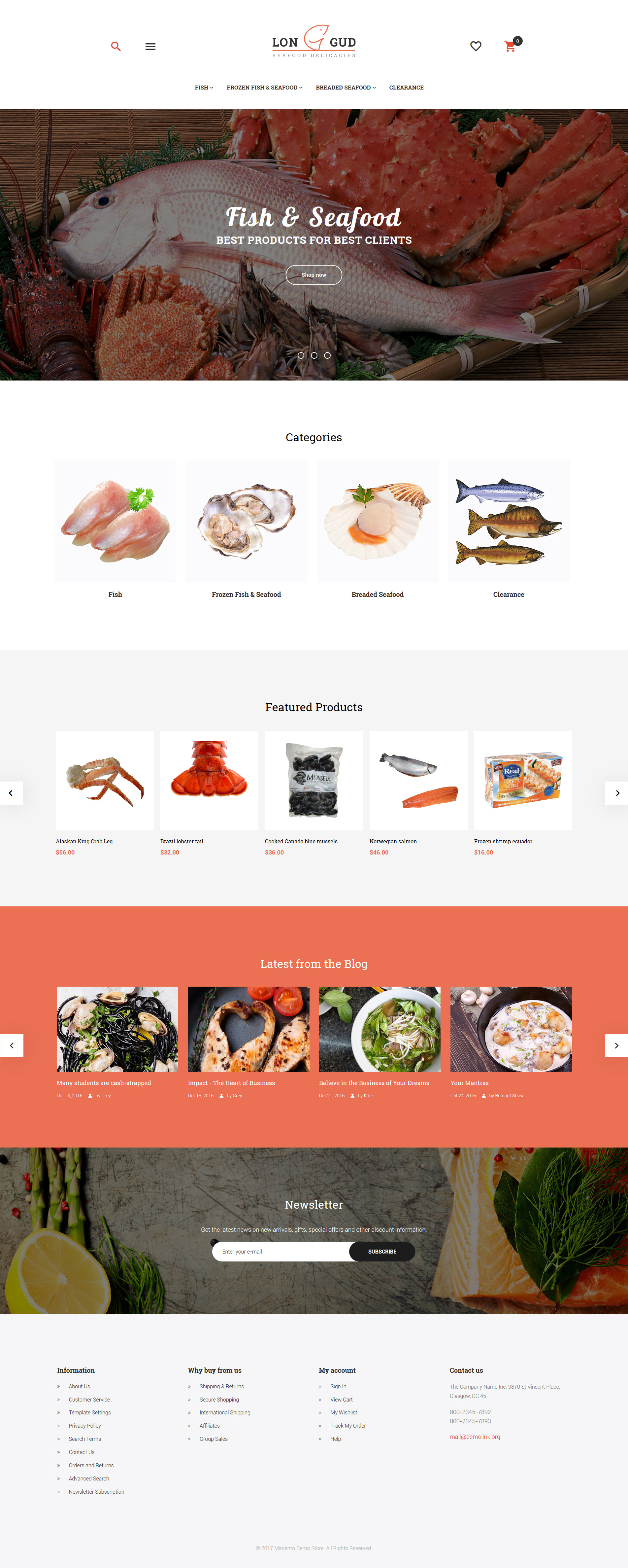 """""""Longud - Seafood Delicacies"""" thème Magento adaptatif #62082"""