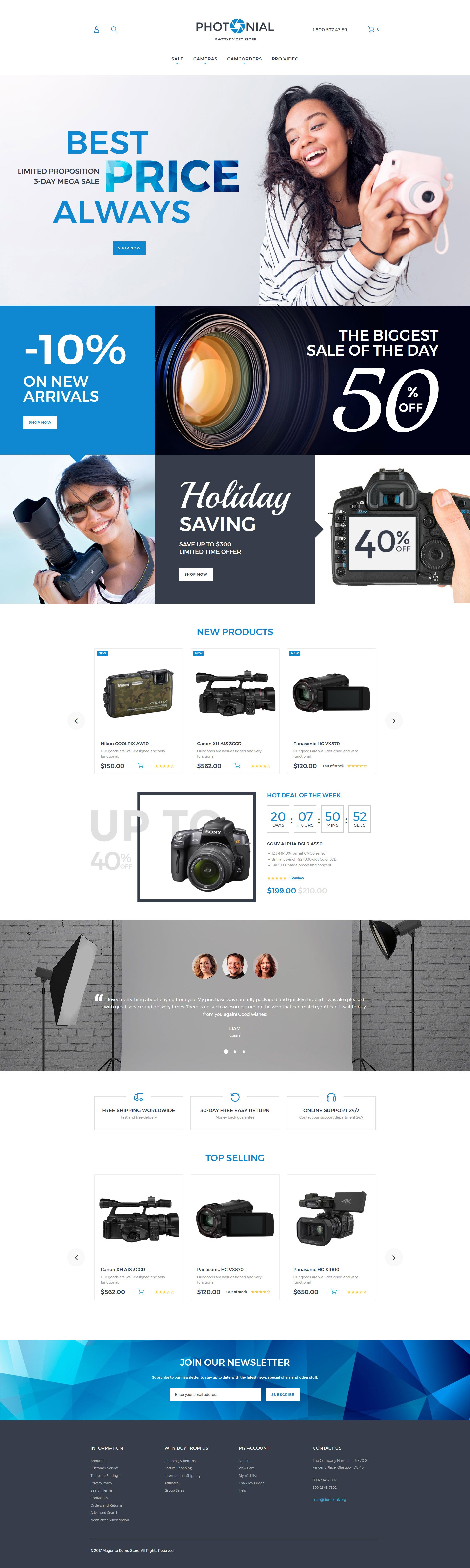 "Magento Theme namens ""Photonial - Photo & Video Store"" #62097 - Screenshot"