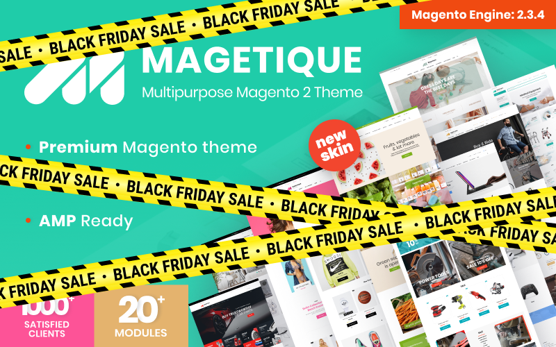 """Magetique - AMP-Ready Multipurpose"" - адаптивний Magento шаблон №62000"