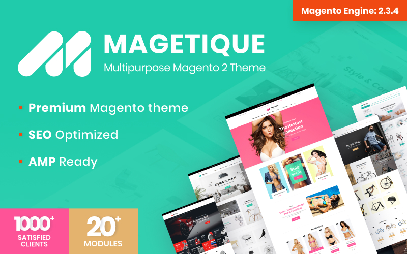 """Magetique - AMP-Ready Multipurpose Magento 2 Theme"" 响应式Magento模板 #62000"