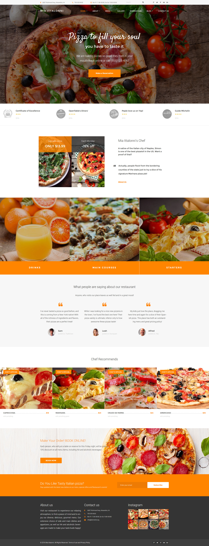 """Mia Ittalloni - Free WordPress Restaurant Theme"" - адаптивний WordPress шаблон №62028 - скріншот"