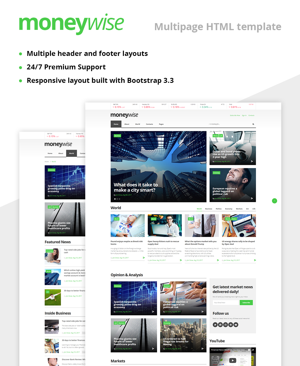 Moneywise Financial News Magazine Responsive Multipage Website Template