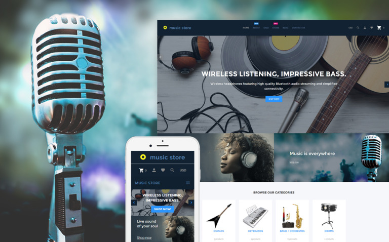 Music Store - Audio & Music Store Shopify Theme New Screenshots BIG