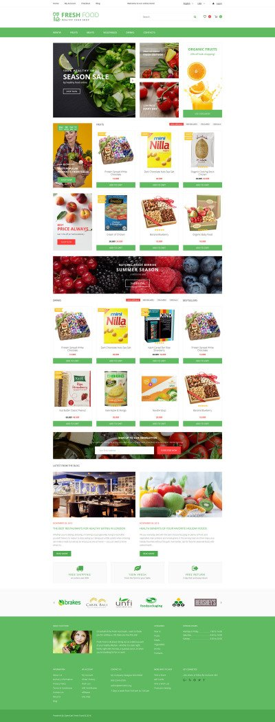"OpenCart шаблон ""Fresh Food - Healthy & Organic Food Store"" #62075"