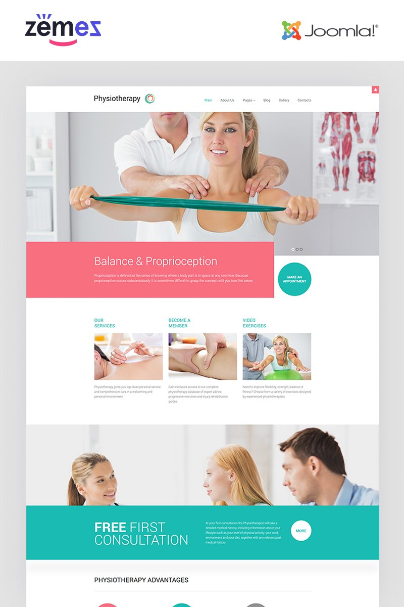 """Physiotherapy - Medical Treatment"" Responsive Joomla Template №62063 - screenshot"