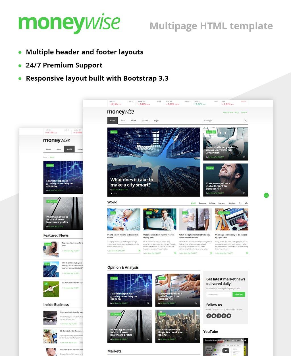"Plantilla Web ""Moneywise - Financial News Magazine Responsive Multipage"" #62058"
