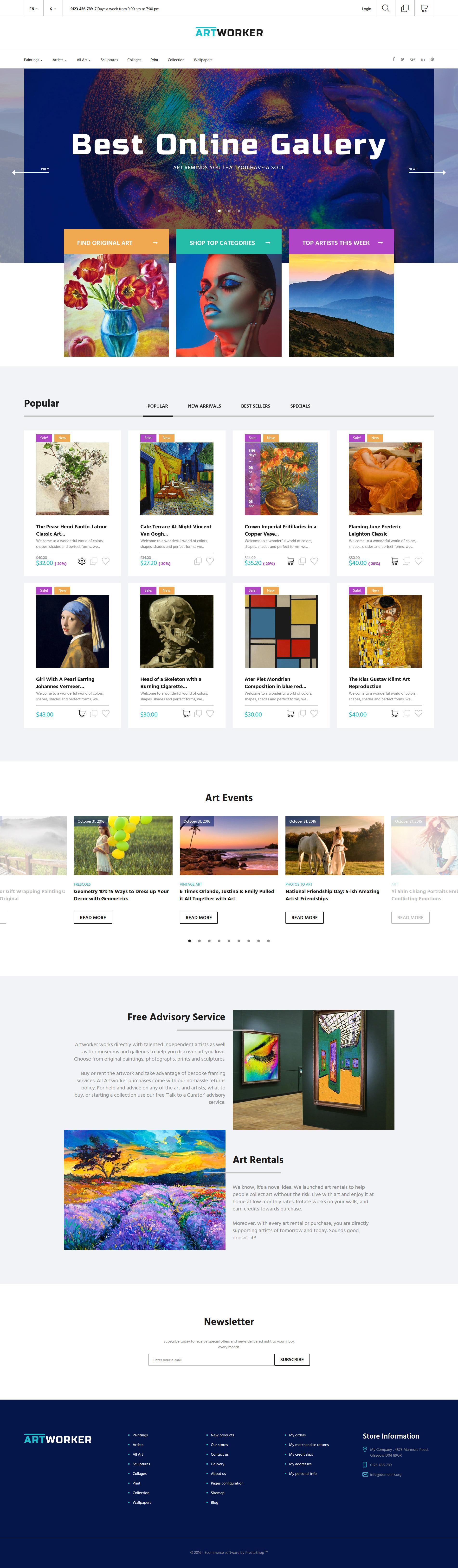 """PrestaShop Theme namens """"Artworker - Onlinegalerie und Künstler-Portfolio"""" #62011"""