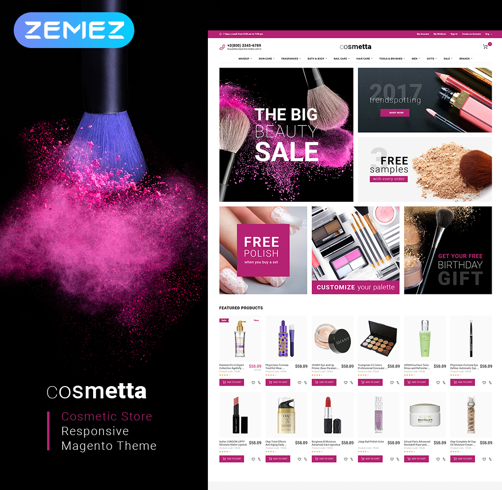 Responsive Cosmetta - Cosmetics Store Magento #62093