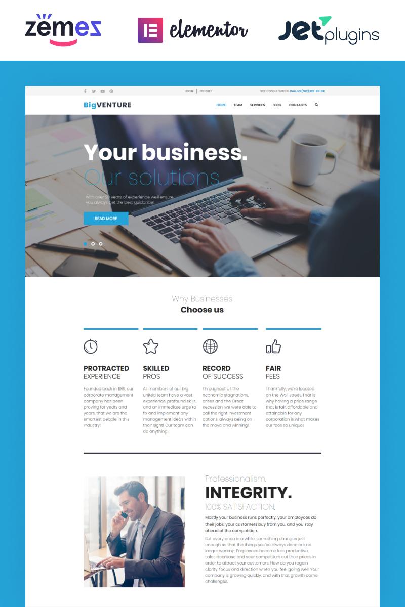 Responsivt BigVenture - Business & Consulting Elementor WordPress-tema #62027
