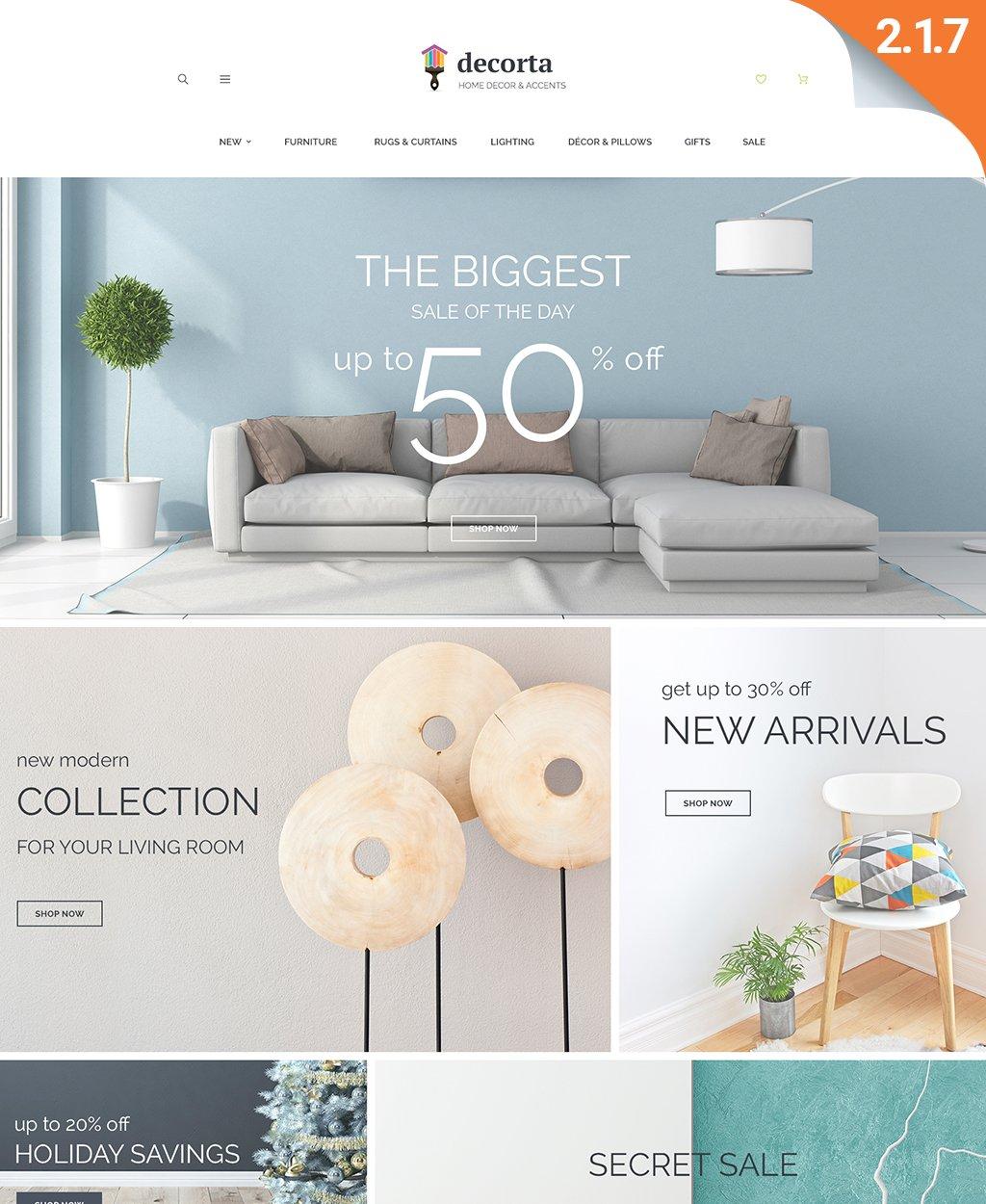Responsivt Decorta - Home Decor Responsive Magento 2 Theme Magento-tema #62090
