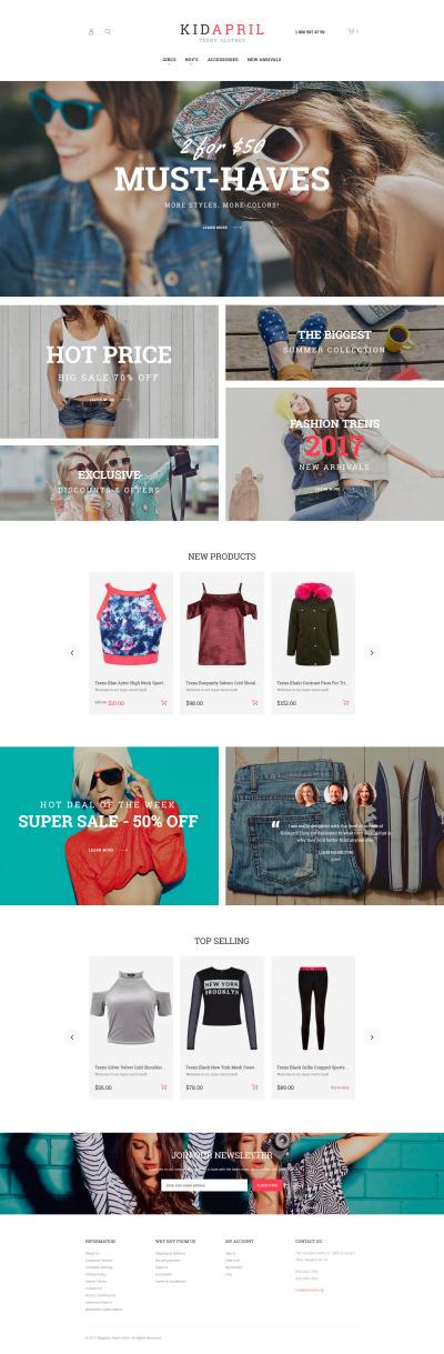 Responsywny szablon Magento #62096 na temat: sklep z koszulkami