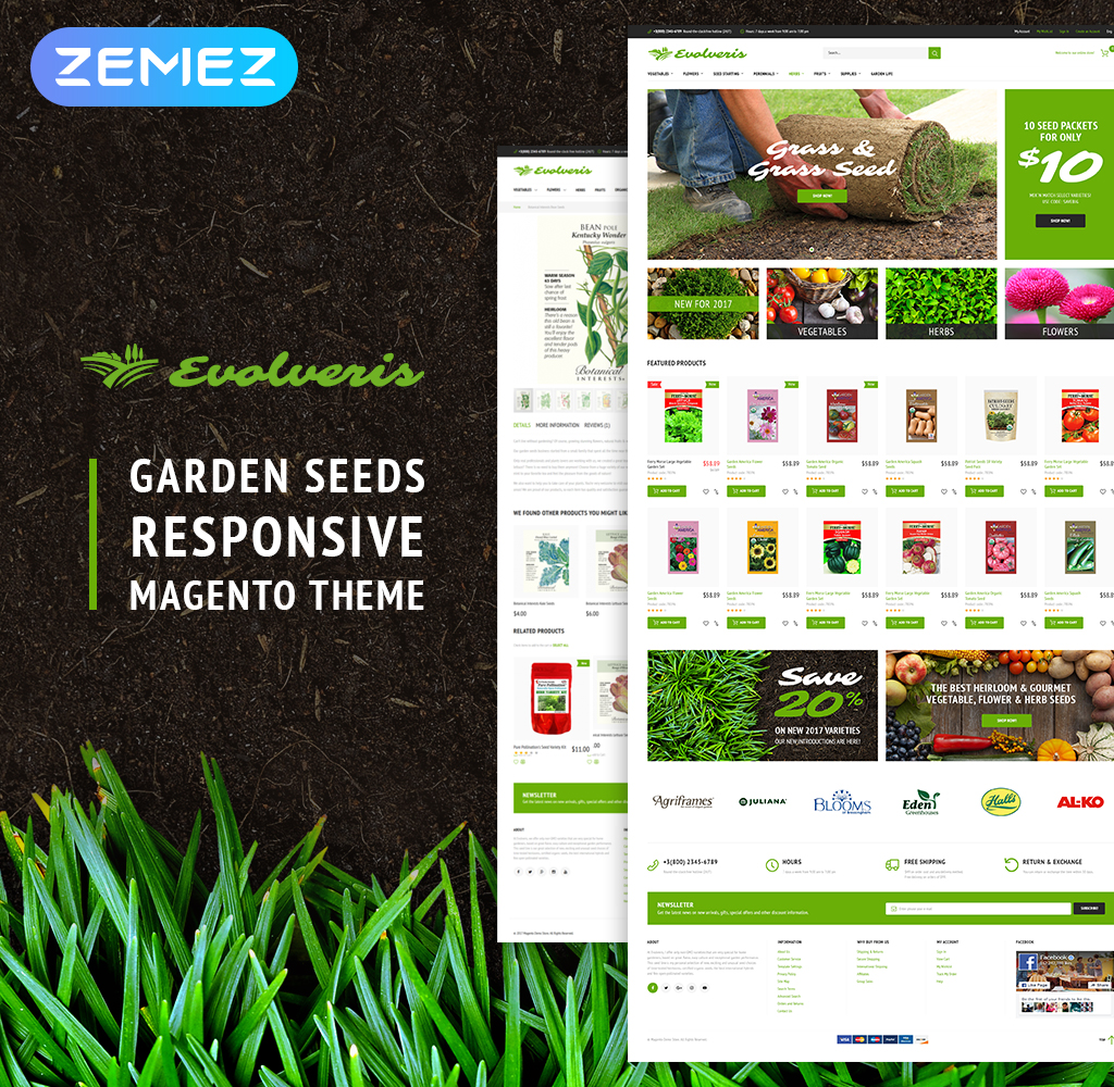 "Responzivní Magento motiv ""Evolveris - Gardening Store"" #62091"