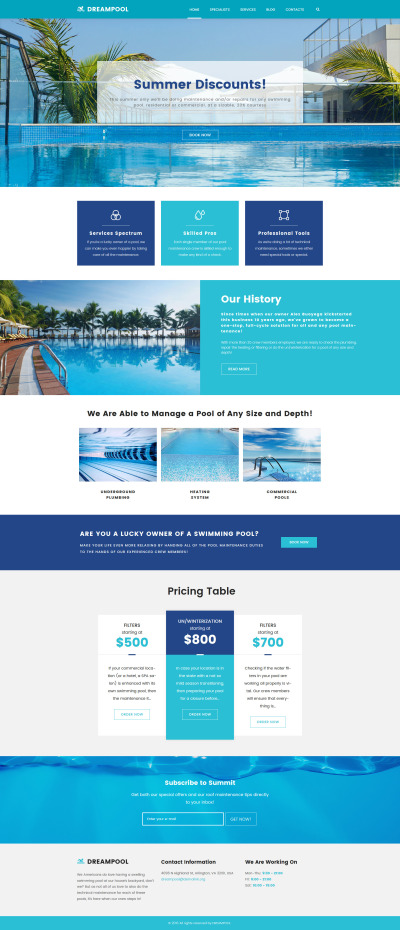 Reszponzív Dream Pool - Pool Cleaning & Pool Repair WordPress sablon #62026