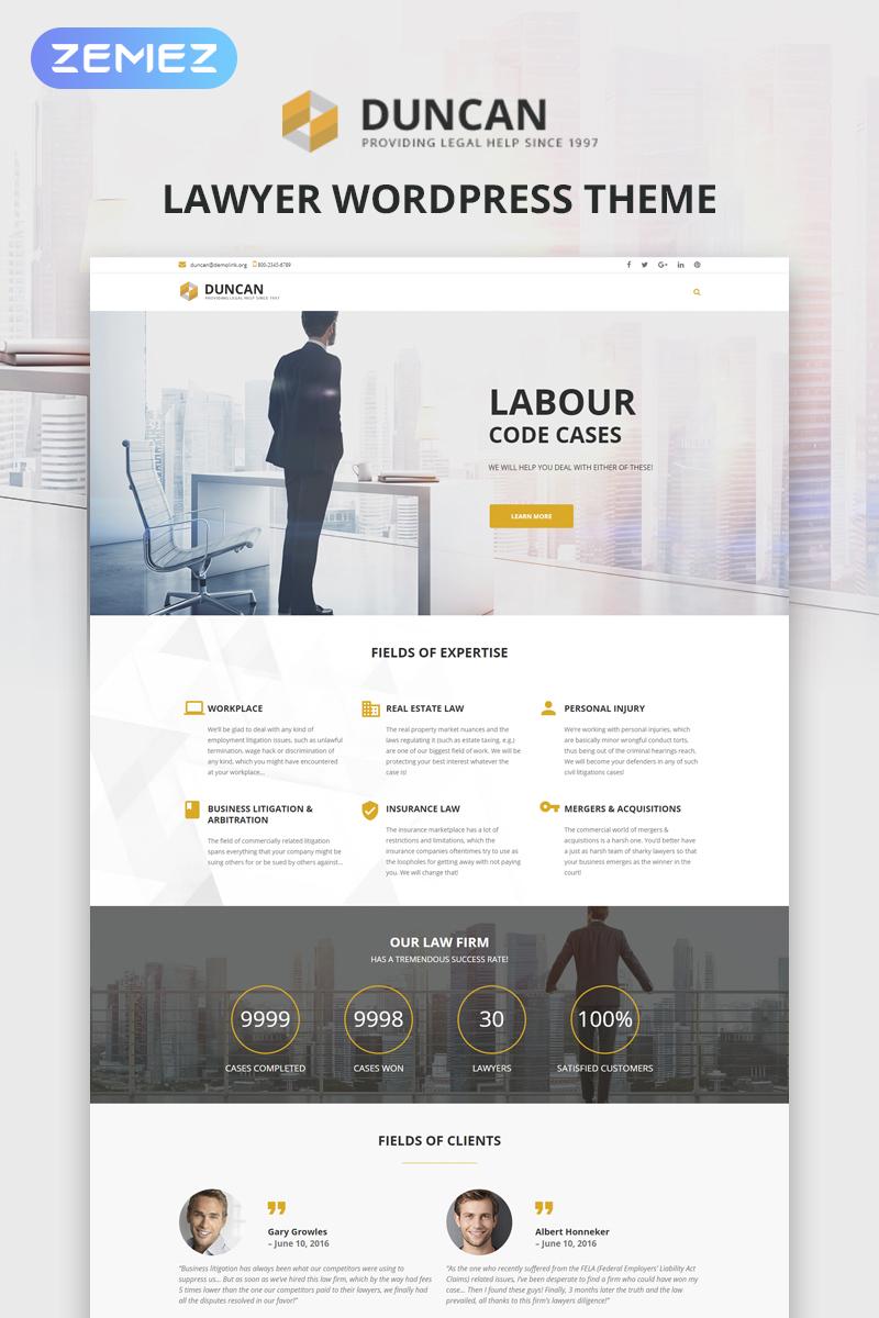 Reszponzív Duncan - Lawyer Company Responsive WordPress sablon 62038