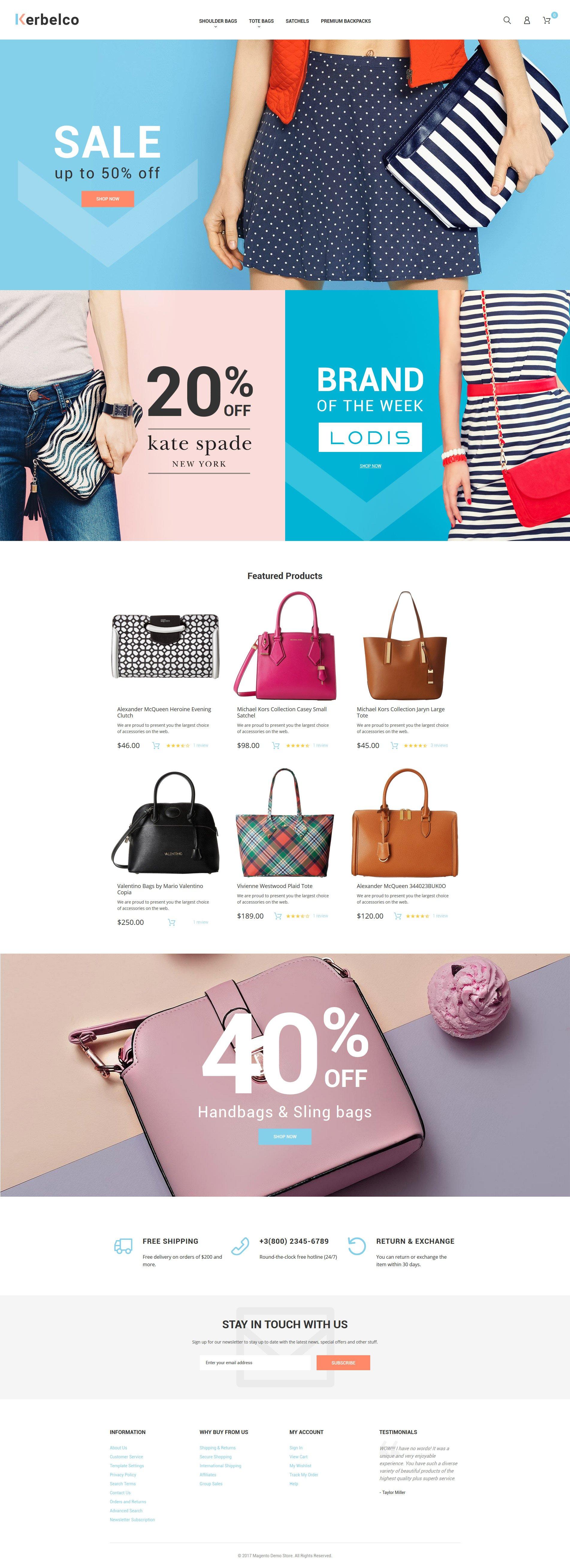 Reszponzív Fashion & Handbags Magento 2 Theme Magento sablon 62099 - képernyőkép