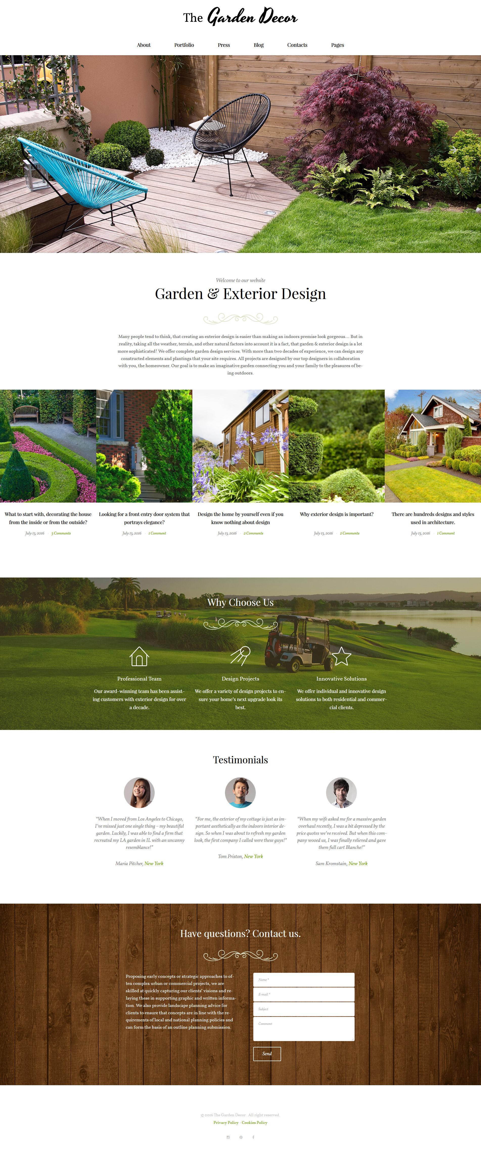 Reszponzív Garden Decor And Exterior Design Responsive WordPress sablon 62020