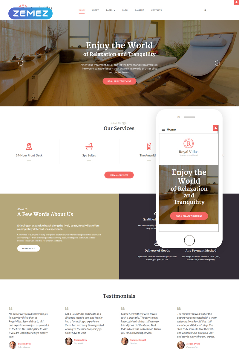 """Royal Villas - Spa Resort & Hotel Responsive"" Responsive Joomla Template №62072 - screenshot"