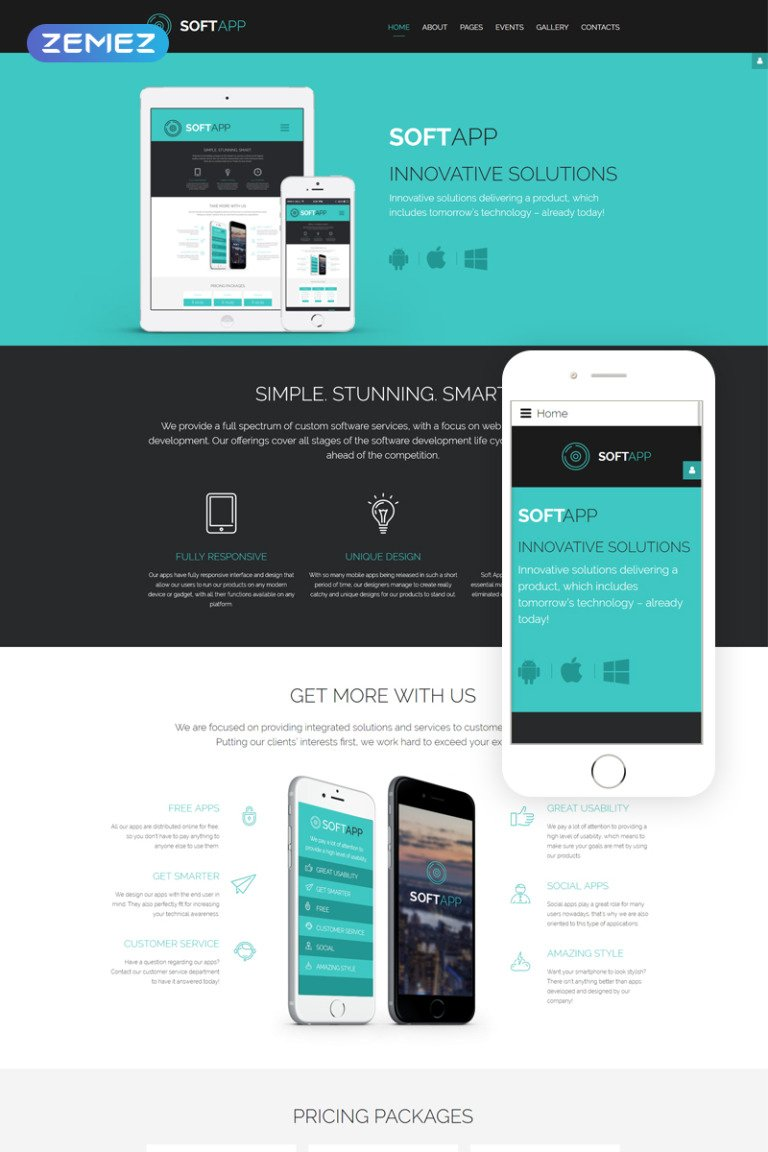 SoftApp - Software Company Responsive Joomla Template Big Screenshot