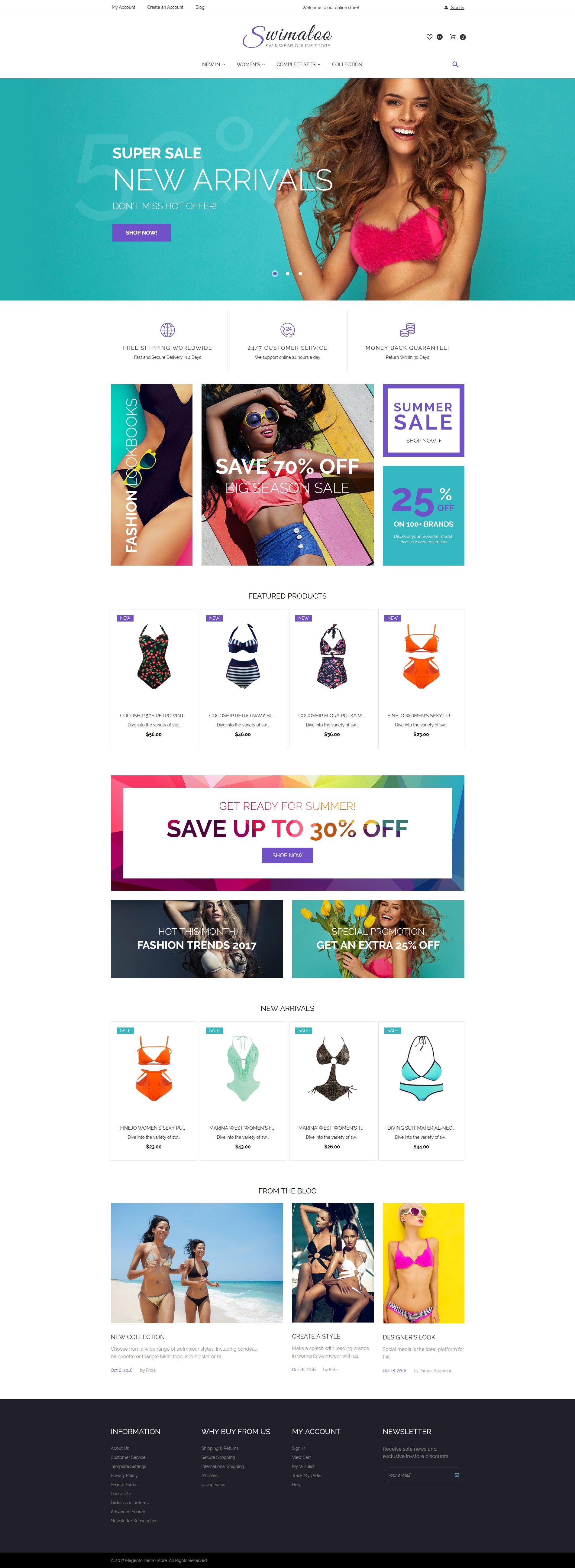 """""""Swimaloo - Swimwear Online Store"""" Responsive Magento Thema №62080"""