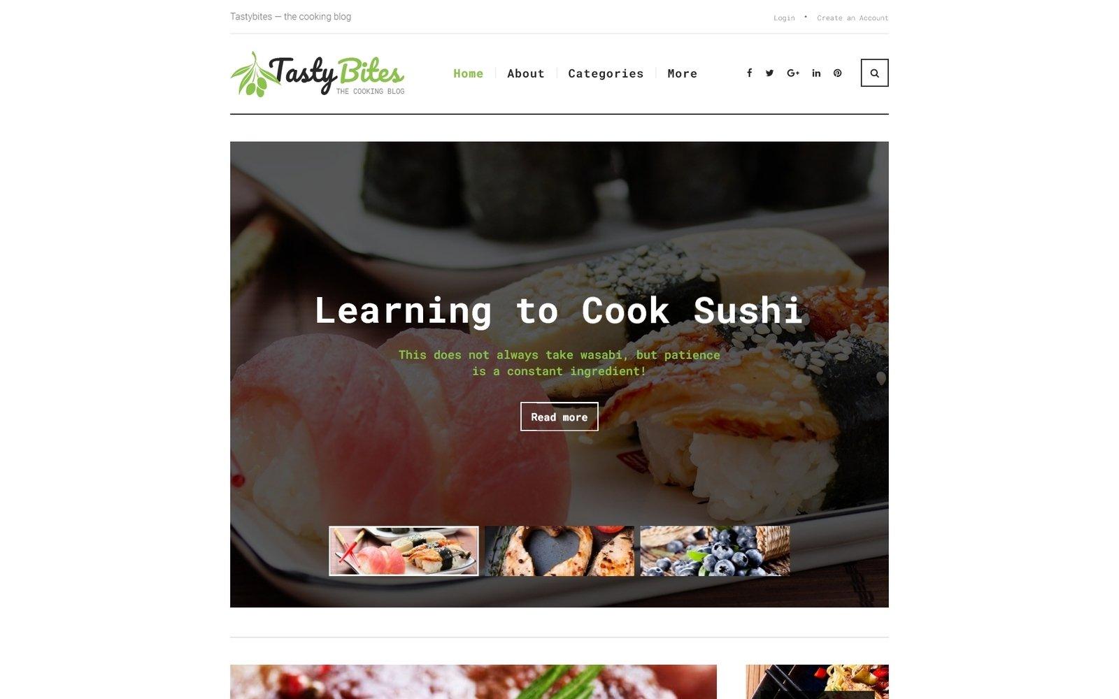 TastyBites - Recipe & Food Blog WordPress sablon 62036