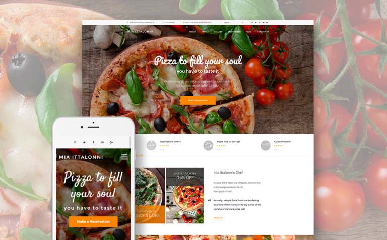 Tema de WordPress #62028 para Sitio de Restaurantes italianos