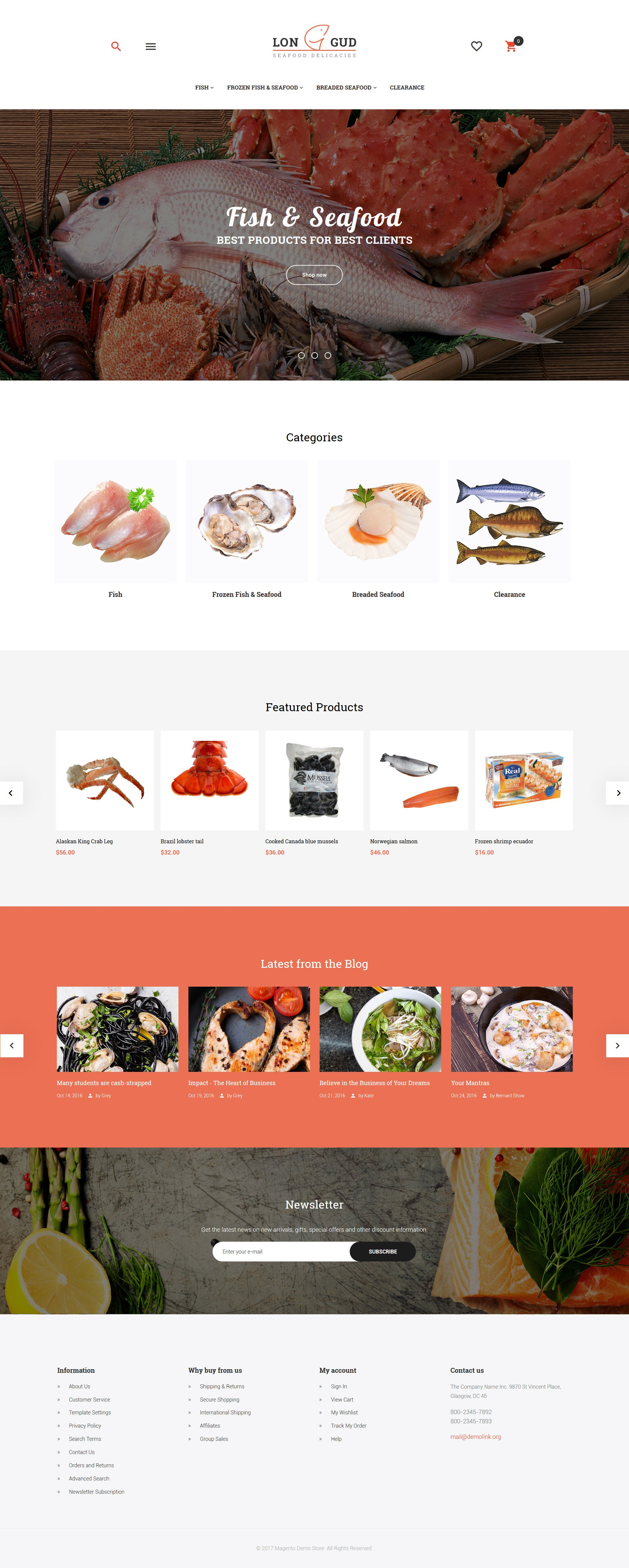 "Tema Magento Responsive #62082 ""Longud - Seafood Delicacies"""