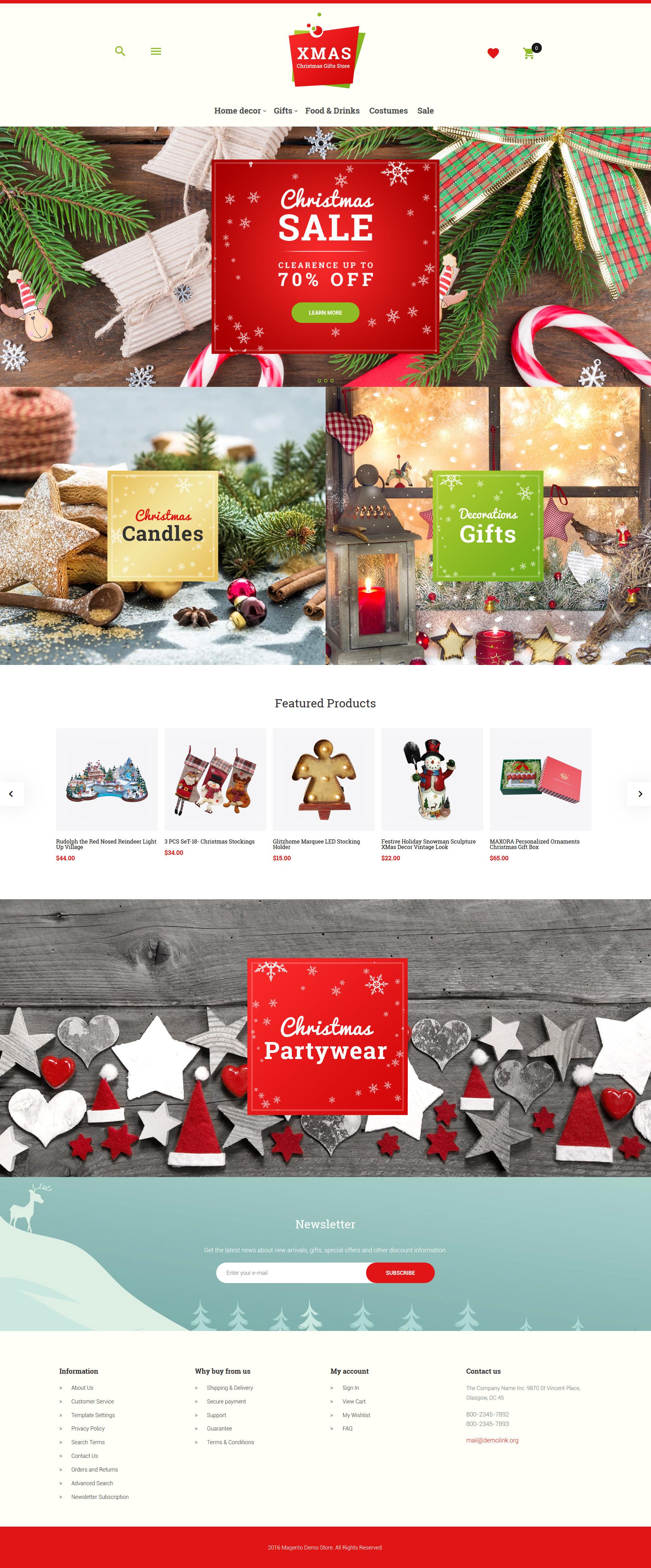"Tema Magento ""Xmas - Christmas Gifts Store Responsive"" #62086"