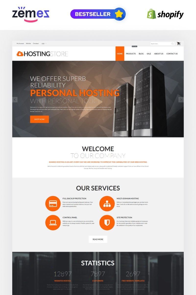 "Tema Shopify ""Hosting Store - Hosting & Software"" #62056 - captura de pantalla"