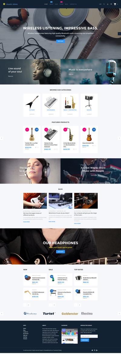 Responsive Tema Shopify #62062 para Sitio de  para Tienda de Instrumentos Musicales