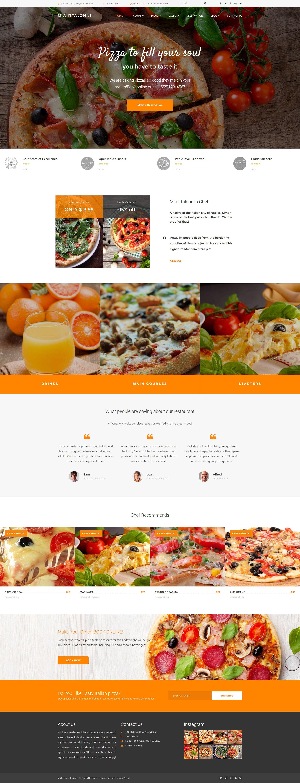 "Tema WordPress Responsive #62028 ""Mia Ittalloni - Free WordPress Restaurant Theme"" - screenshot"