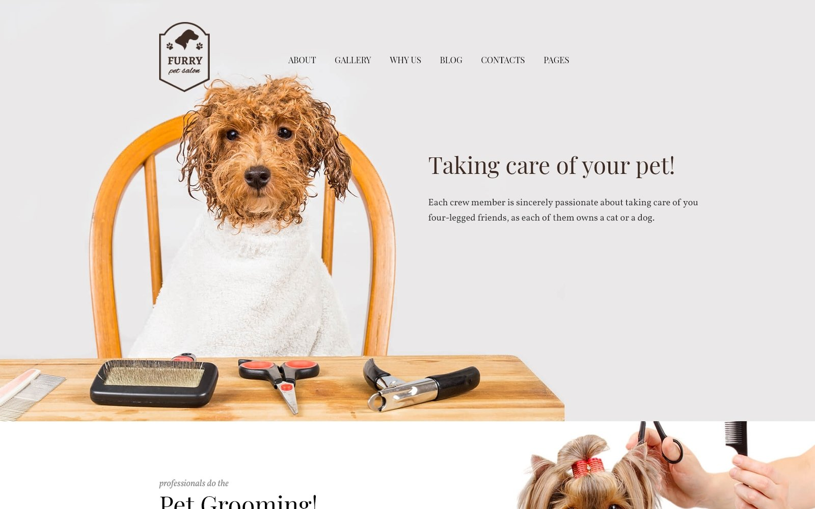 "Template WordPress Responsive #62029 ""Furry - Pet Grooming"""