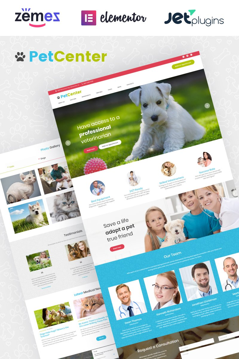 "Template WordPress Responsive #62035 ""PetCenter - Animals & Pets Responsive"""
