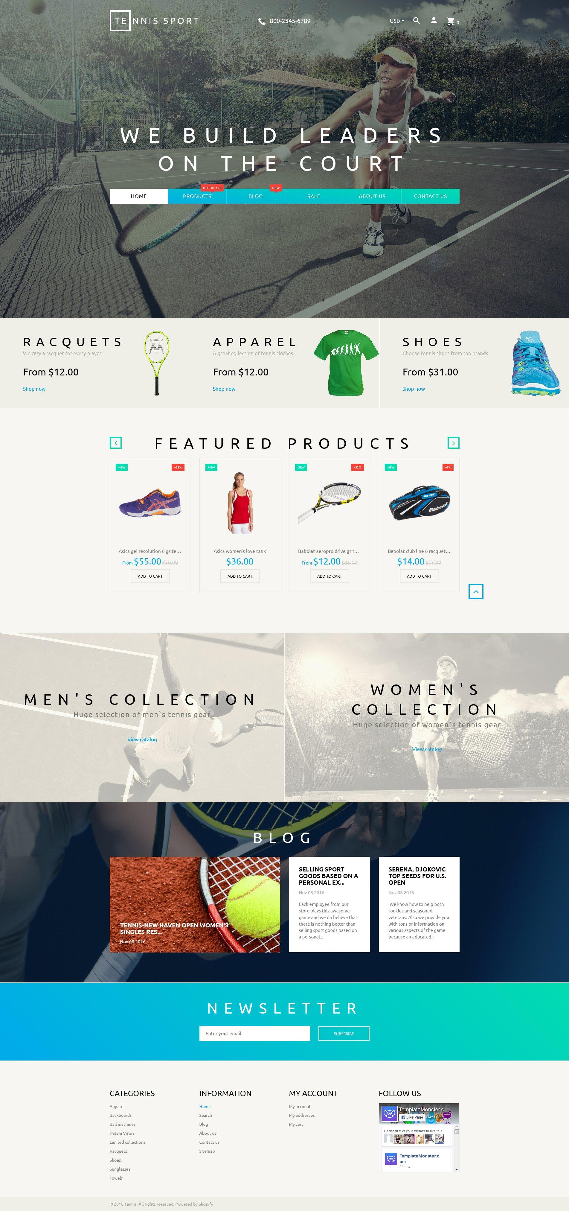 Tennis Sport - Sport Clothes & Tennis Supplies Shopify Theme - screenshot