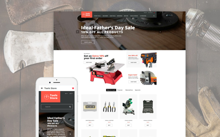 Tools Store - Building Tools & Handyman Supplies OpenCart Template New Screenshots BIG